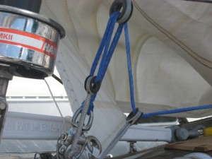 Detail of the 4:1 adjustment tackle n a Baltic 38