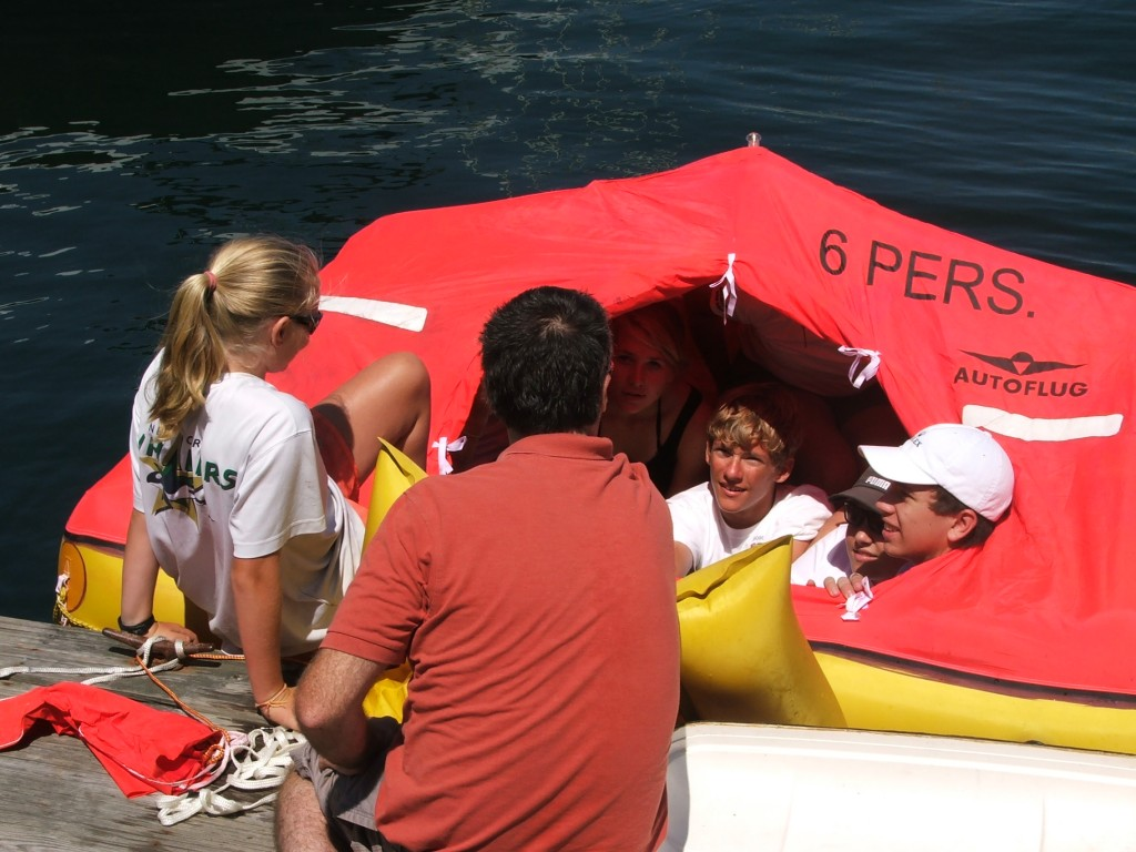 Life raft drill in the 2011 Junior Safety at sea seminar
