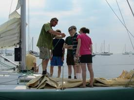 Prout sailors receive in instruction on Genoa sheet rigging