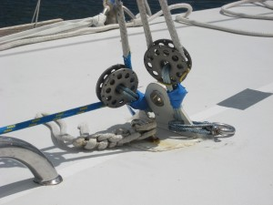 Solent stay tensioning set up on a competitor in the 2011 OSTAR
