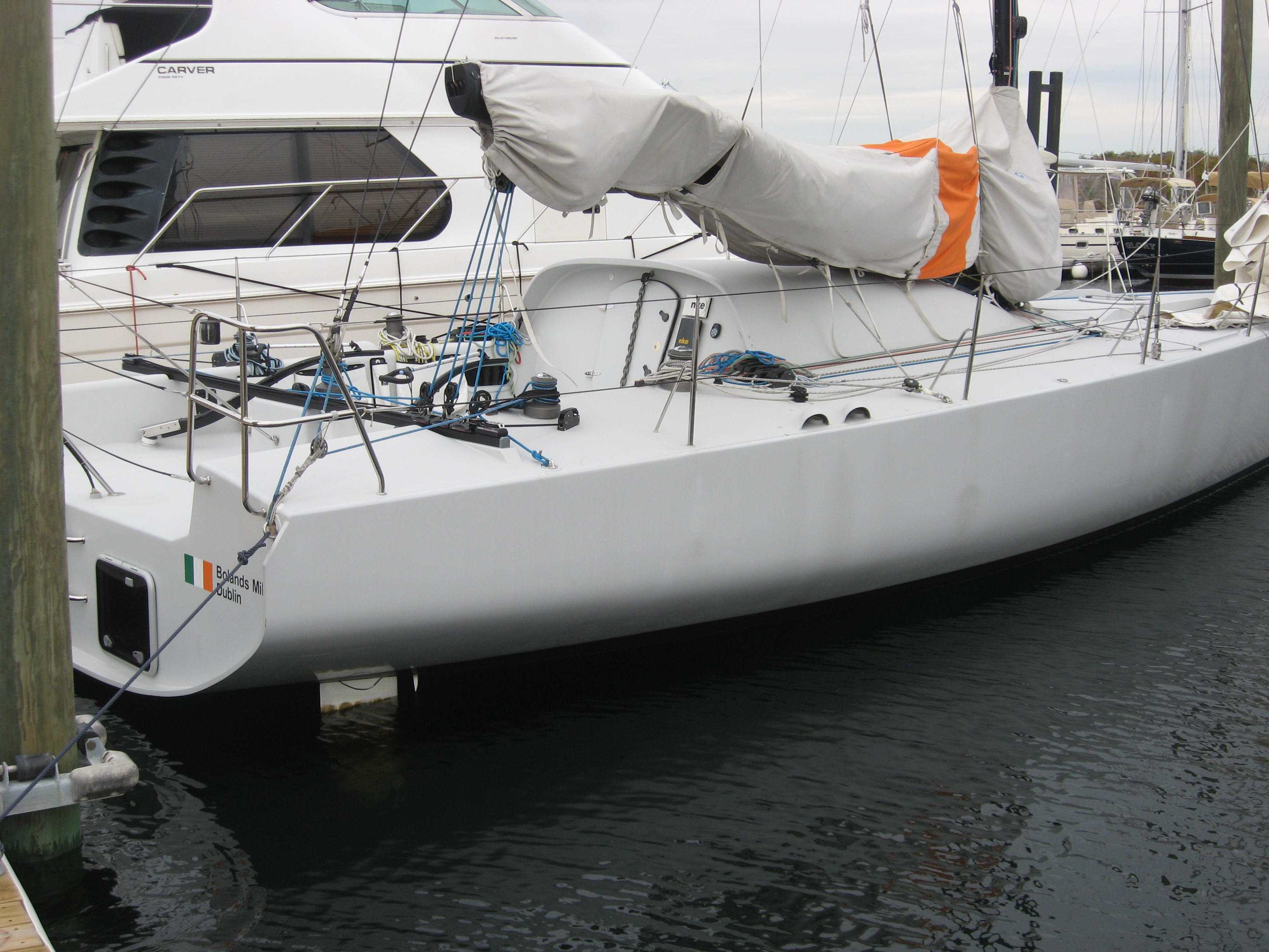 A class 40. One of the impressive fefatures of these boats is the really properly water tight hatch into the cabin.