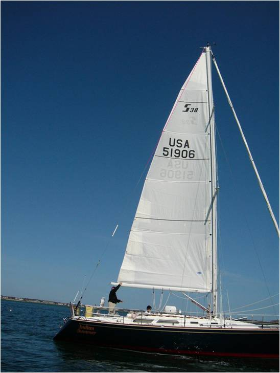 The width of the mainsail on the majority of boats is constrained by either the backstay or a rating requirement. This mainsail for a Sabre 38 is built to the maximum girths permitted by the PHRF of New England. If you look carefully, the upper leech is just overlapping the backstay by an about 4 inches.