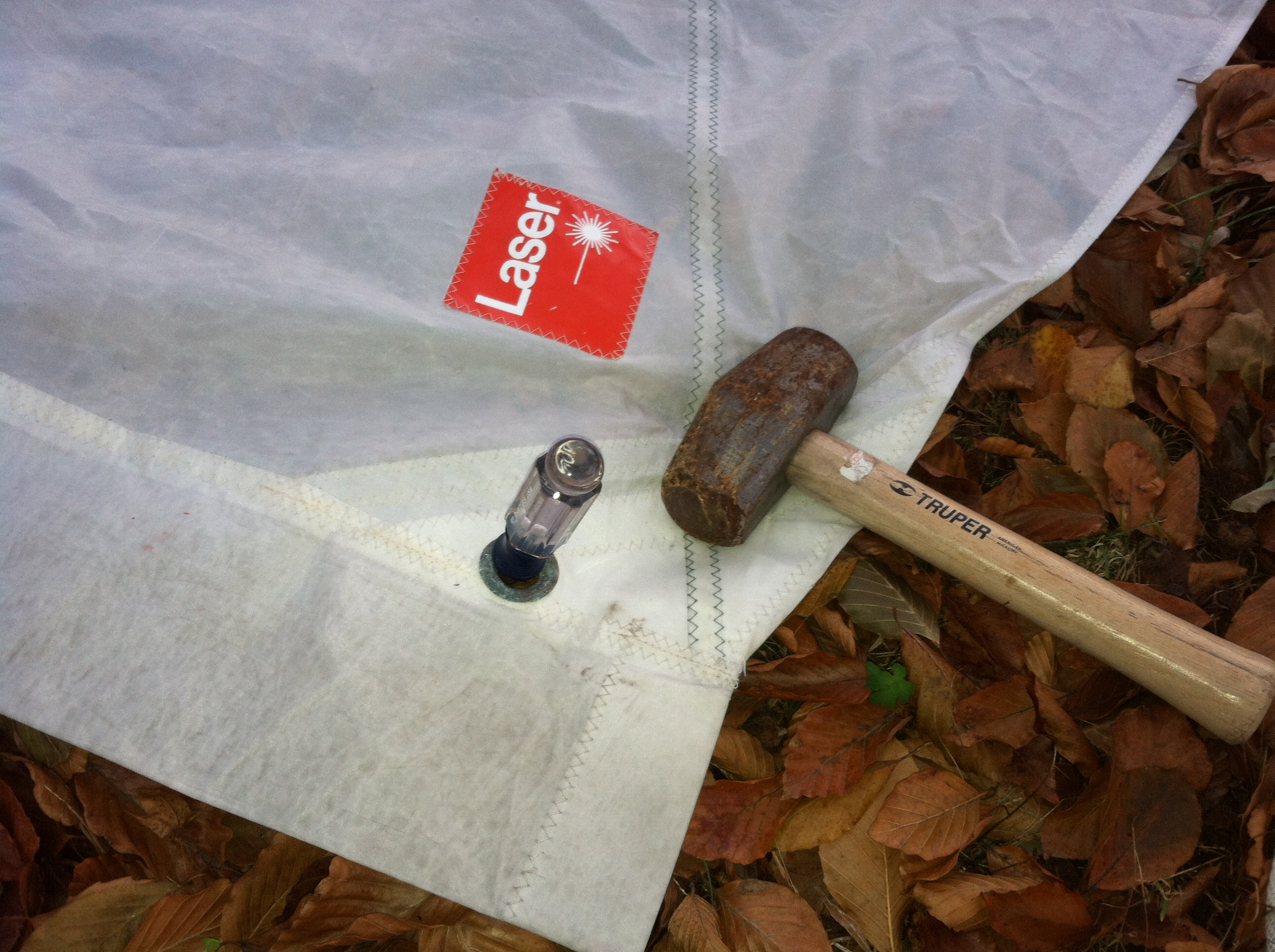 Secure the tack with, in this case, a screwdriver pressed into the soil.