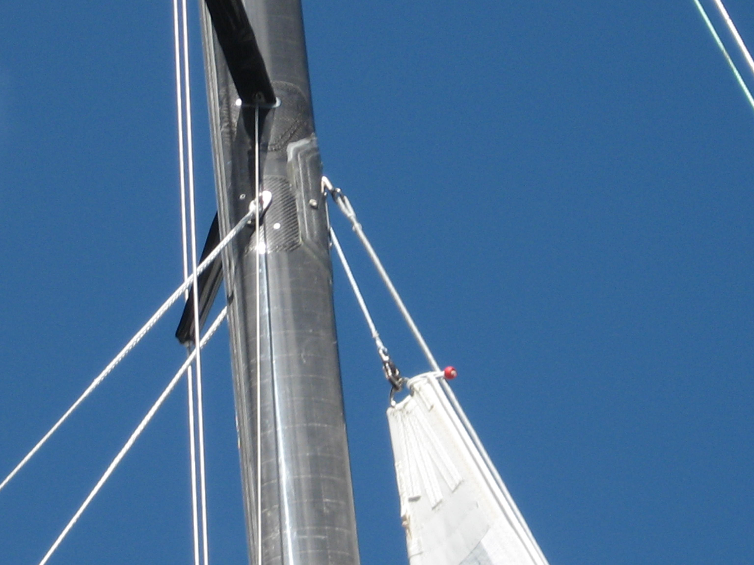 Staysail stay attachment point on the spar and runner take offs.