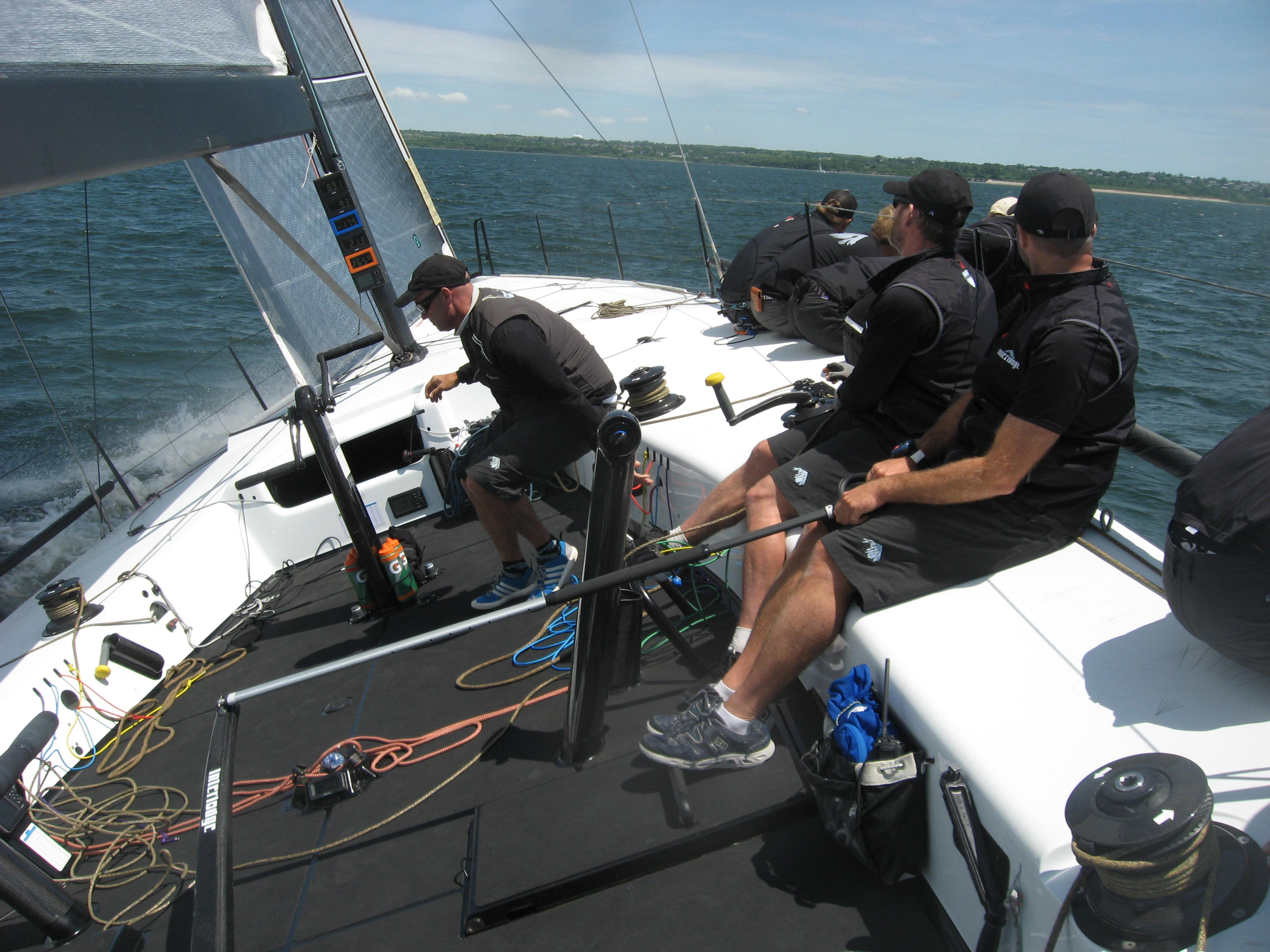 A TP 52 out practicing on Narragansett Bay prior to the NYYC Annual regatta