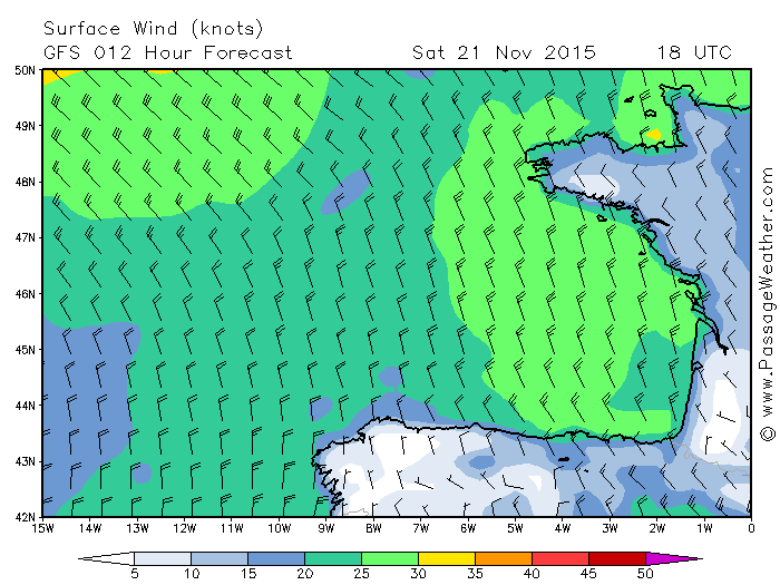 WX for  UShant and the Bay of Biscay for 1800 z on Saturday 21 11 15. Breeze on. Equator in 5.5 days, or less.