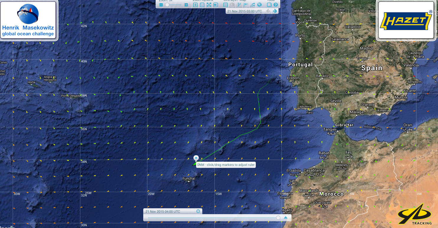 Yellow Brick tracking position for Henrik Masekowitz, Croix du Sud, at 0500z Sat 21-11-15