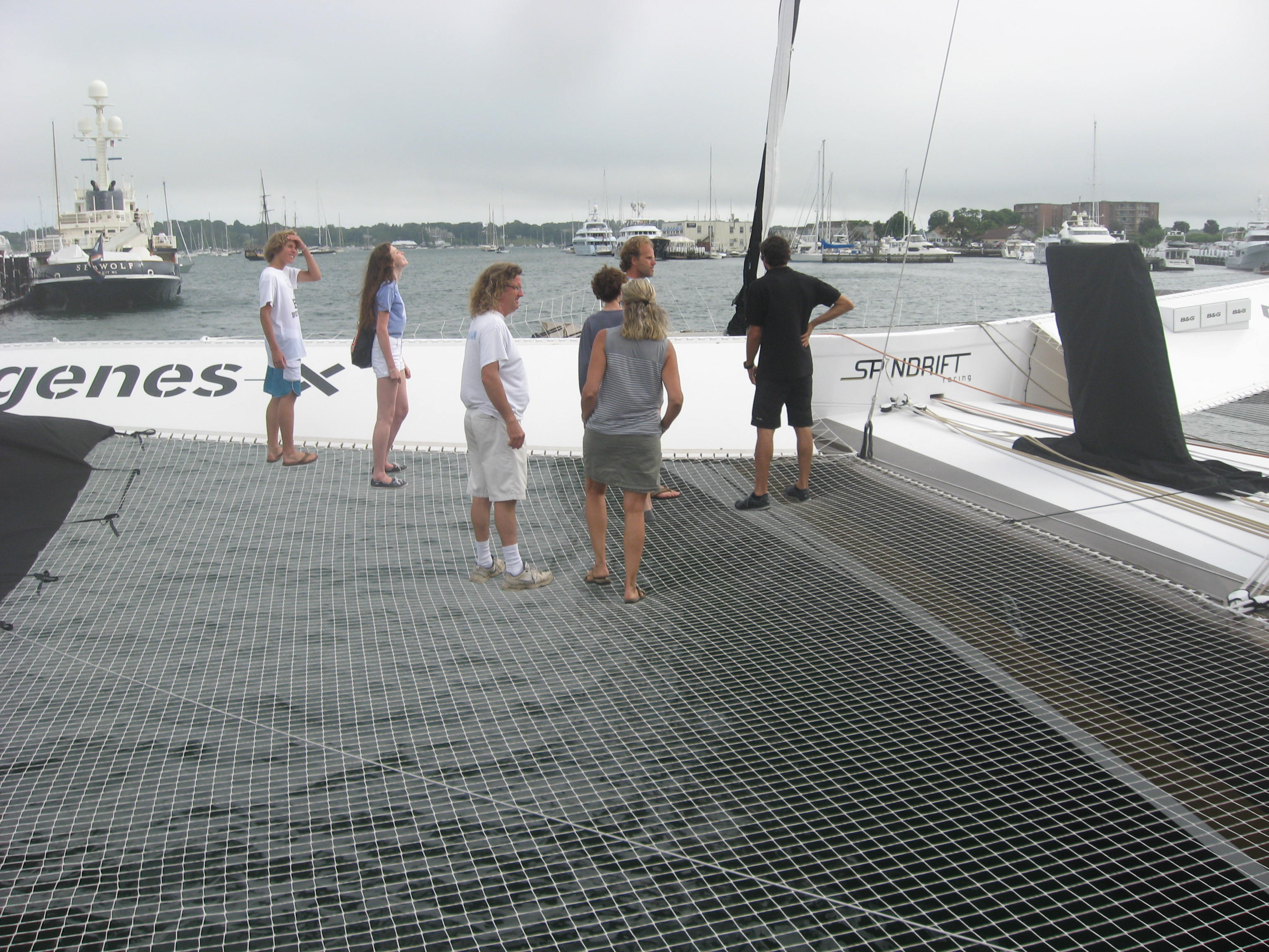 Maxi Trimarian Spindrift 2 in Newport preparing for an attempt on the West to East Trans-Atlantic record in 2014