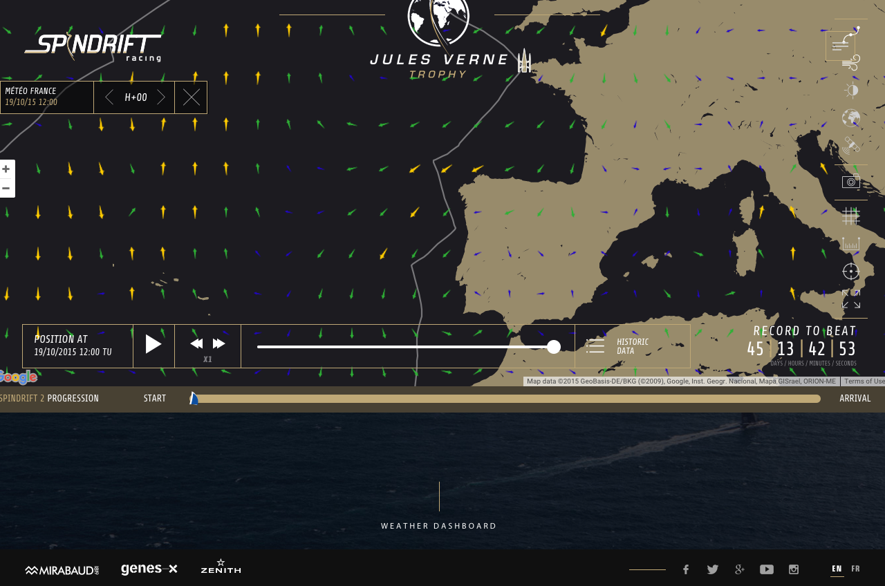 Spindrift traking page showing her in Brest with the engine ticking over waiing for othe green light….
