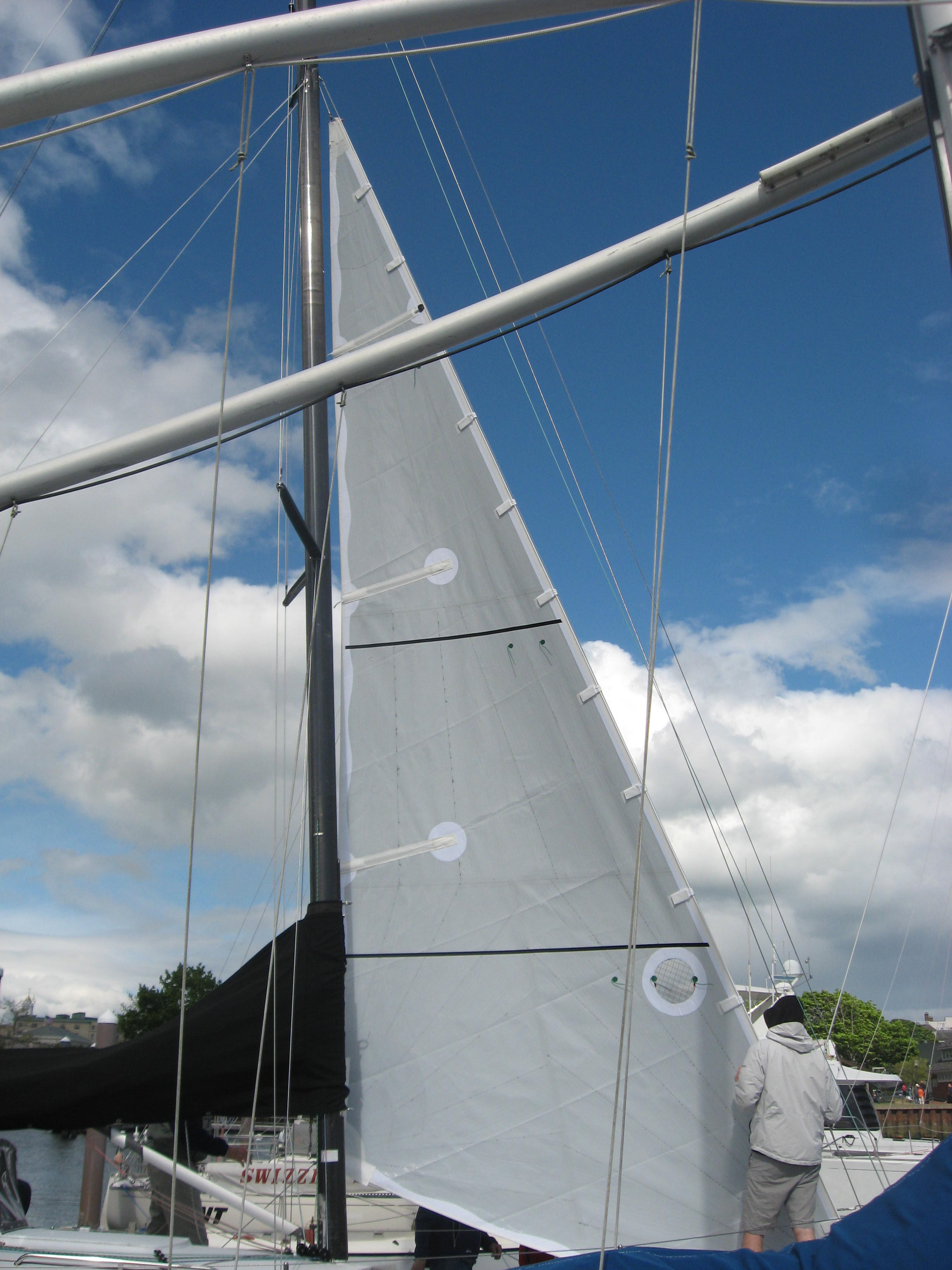 Laminated staysail on a 30 footer.