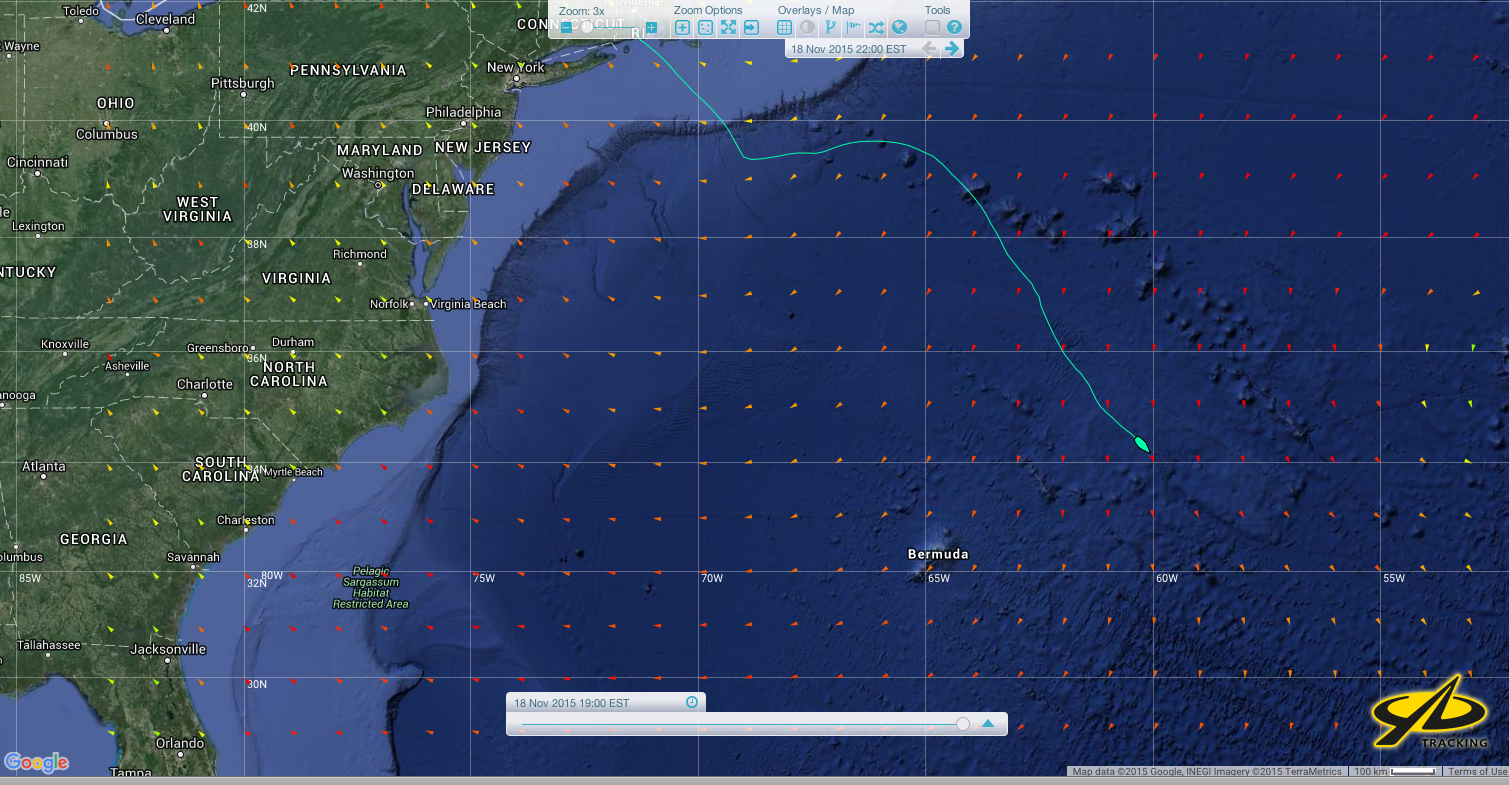 A Yellow Brick Tracker screen  shot of Gryphon Solo 2's position taken at 1915 EST Wednesday Nov 15.