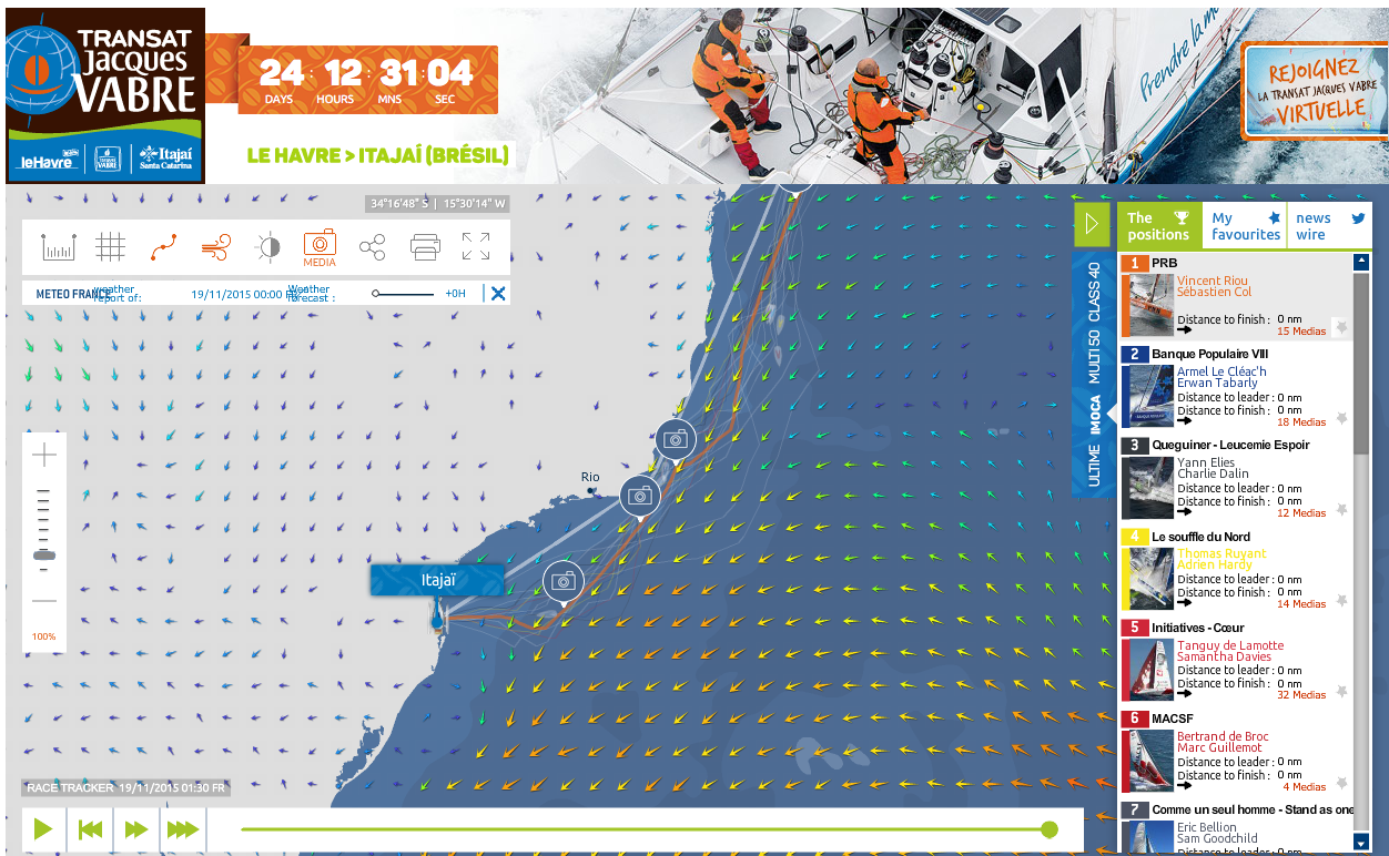 Screen shot of the Class 40 tracking as they close in on the finish of the Transat Jacque Vabre
