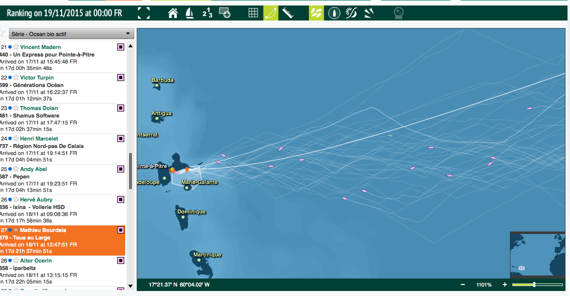 The remains of the Mini Transat fleet heading for the finish at Guadeloupe, ideally in time for the party….