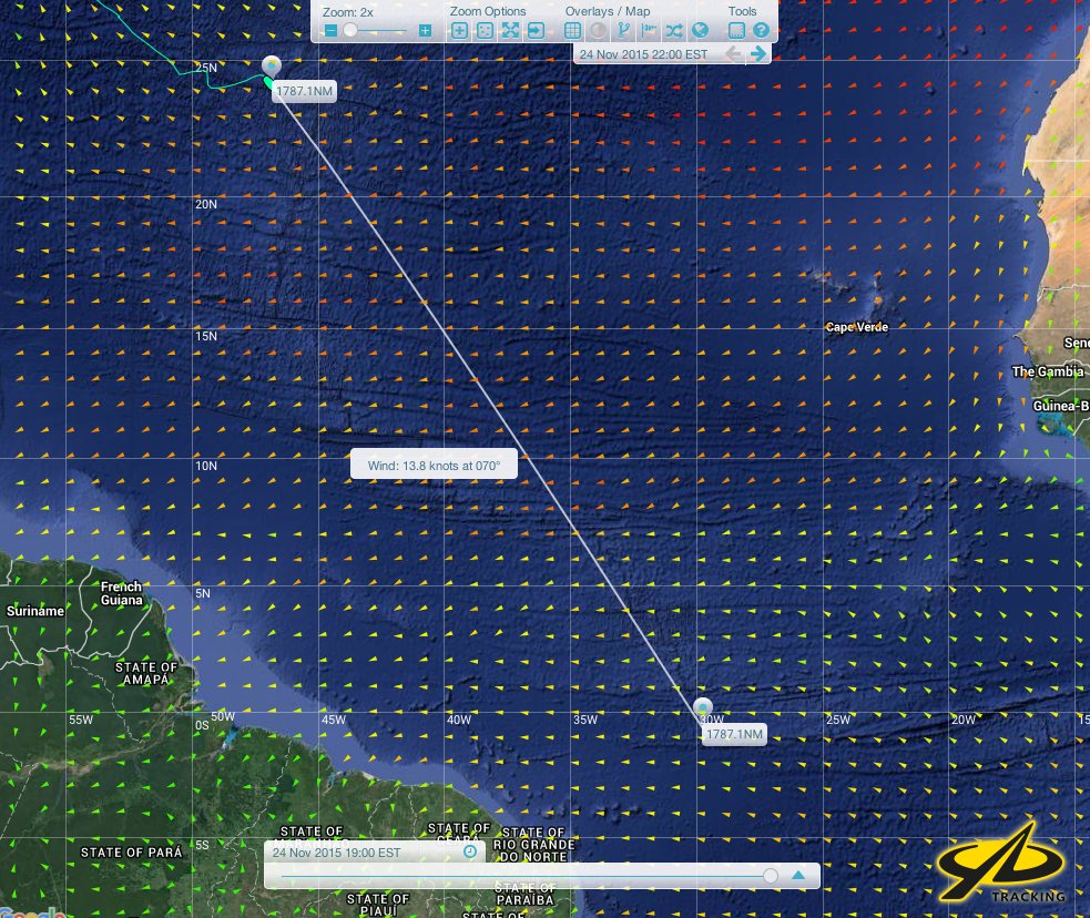 Joe's track and distance to the Equator at 35 degrees West.