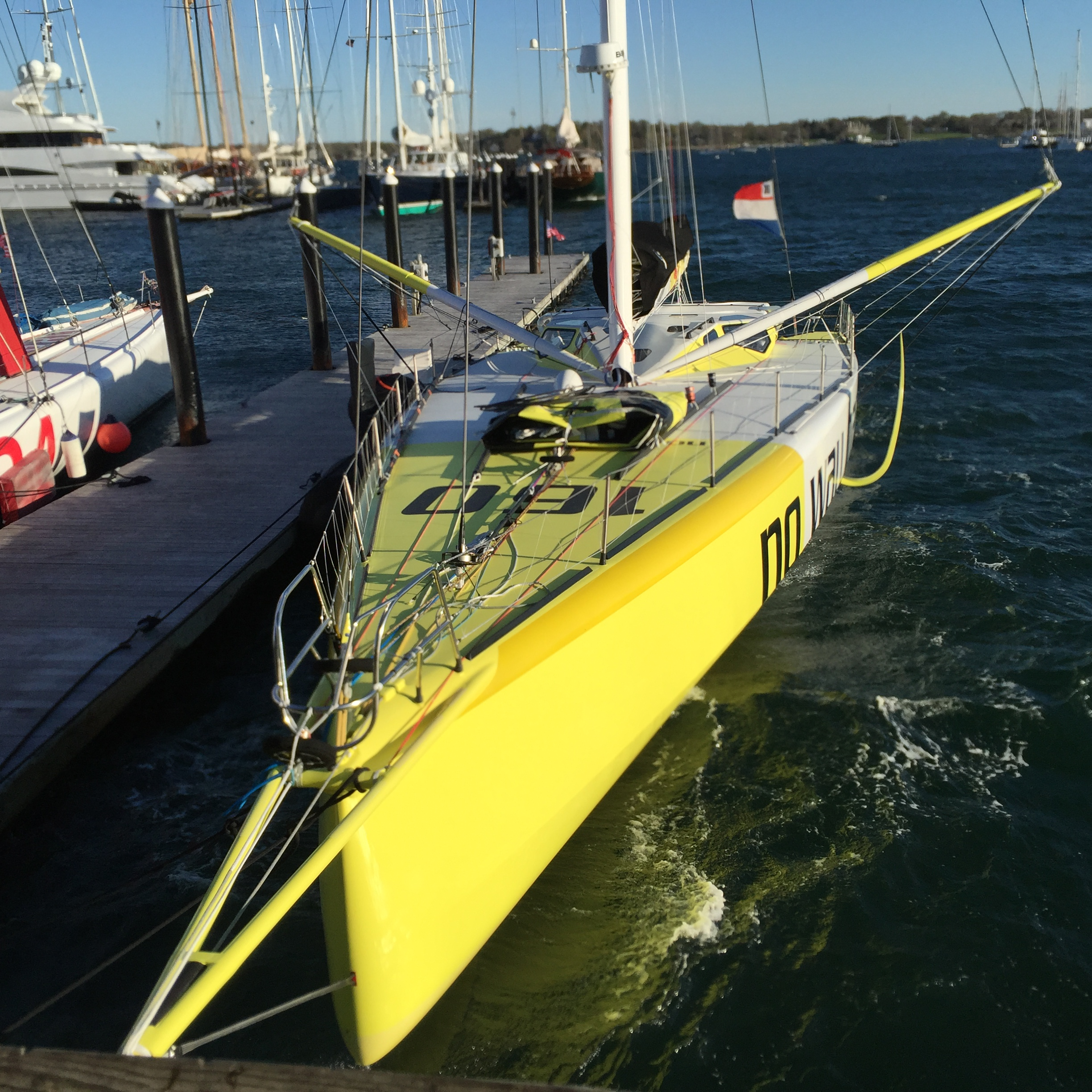 This latest generation IMOCA 60 has the now common deck spreaders and wing shection mast. The spreaders are to get a wide shroud base, to minize the compression on the spar so it can be a but lighter. Many many Excel spreadsheet Cells were sacrificed in figuring out the cost benefit of this arrangemebt.