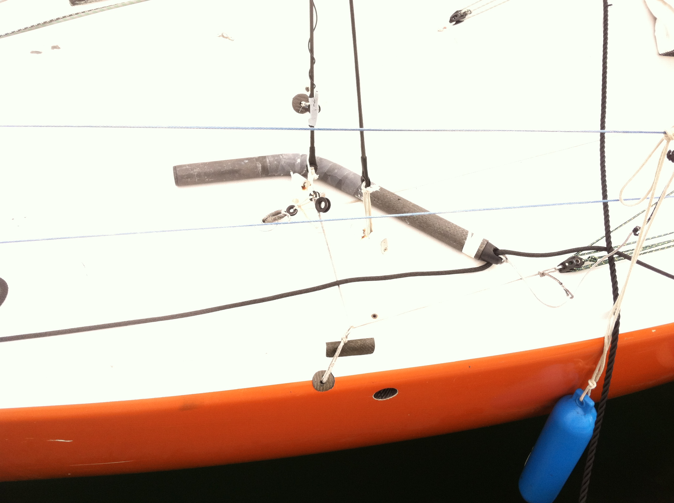This image shows the hole in the side of the boat to accept the strut.